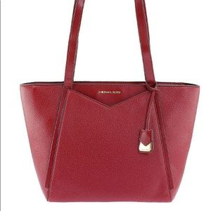 Michael Kors Whitney Sm Leather Tote Maroon